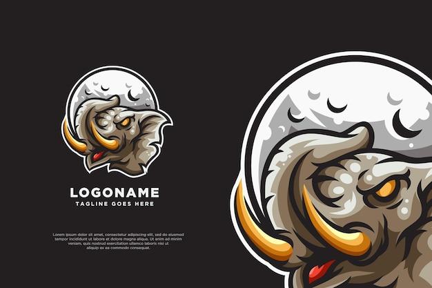 Disegno della mascotte del logo della luna dell'elefante