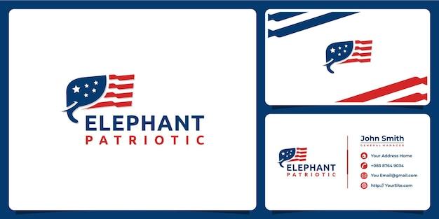 Elefante patriottico logo americano con modello di biglietto da visita Vettore Premium