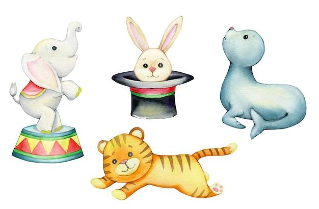 Elefante, coniglio, foca, tigre. acquerelli, animali, su uno sfondo isolato, in stile cartone animato.