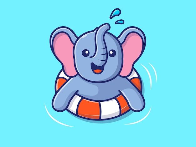 Elefante che nuota sulla spiaggia
