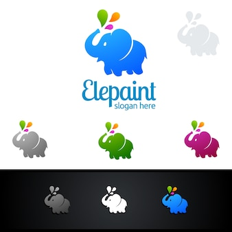 Disegno di marchio di vettore dell'elefante con splash variopinto