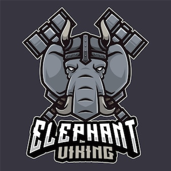 Modello di logo di elefante vichingo