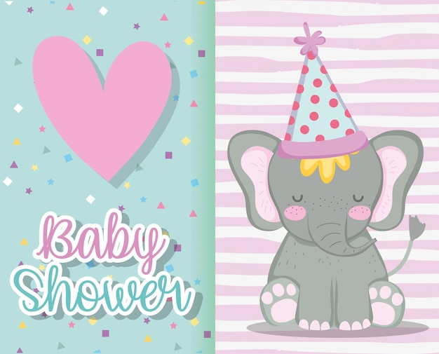 Elefante che indossa cappello per invito baby shower card