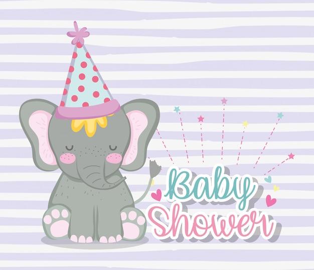 Elefante che indossa un cappello da festa per celebrare la baby shower