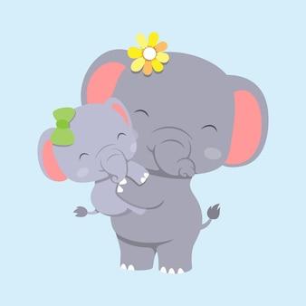 Elefante con elefantino usando la clip per capelli e giocando insieme