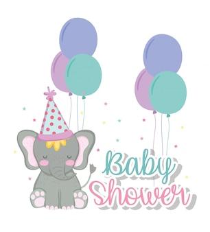 Elefante con palloncini e cappello da festa per baby shower