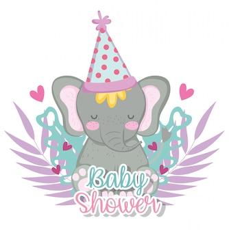 Elefante con cappello per baby shower celebrazione