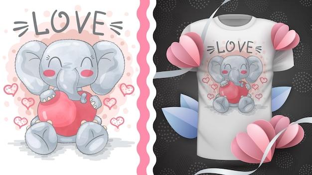 Elefante con cuore - animale personaggio dei cartoni animati infantile
