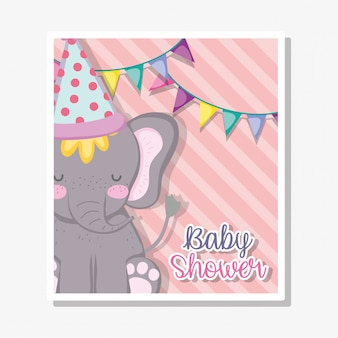 Elefante con banner festa e cappello per baby shower