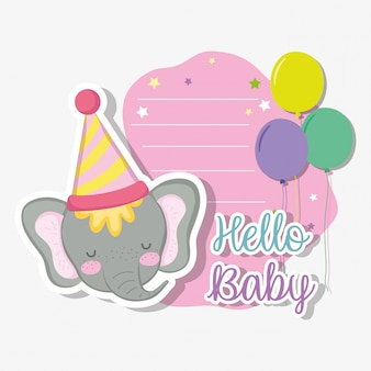 Elefante con cappello di partito e balloos alla carta di invito