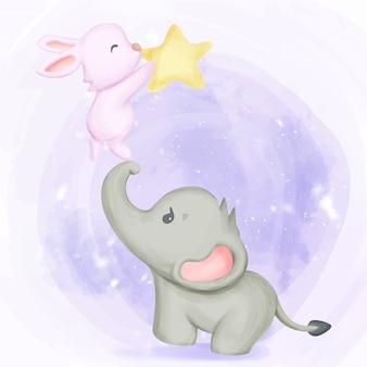 Elefante con coniglio che gioca a stella Vettore Premium