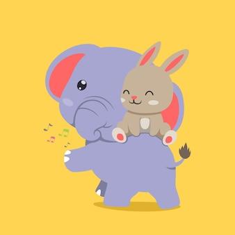 Elefante con coda piccola e giocando con coniglio felice