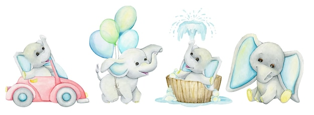 Elefanti, bambino, va in macchina, nuota, si siede, vola in mongolfiera. insieme dell'acquerello, animali.