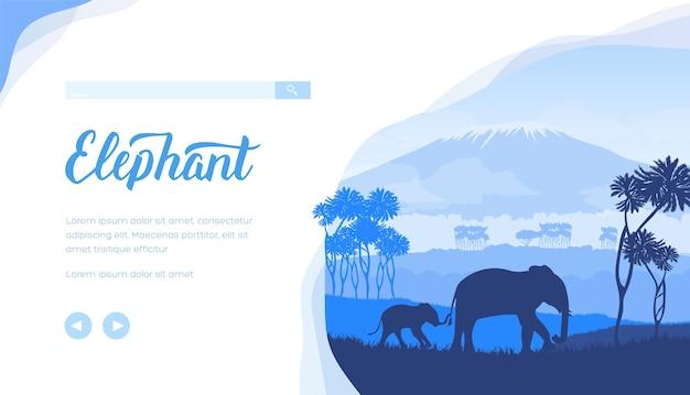 Modello di pagina di destinazione degli elefanti. paesaggio della savana minimalista. sagome di animali selvatici africani.