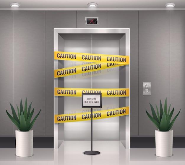 Composizione realistica della porta dell'ascensore con vista interna dell'ingresso dell'ascensore con linee di barriera di cautela