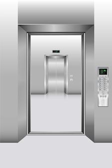 Ascensore interno e corridoio del corridoio dell'edificio per uffici