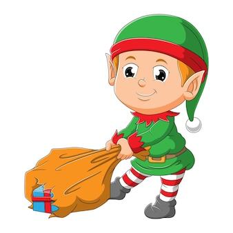 Il ragazzo elfo sta tirando un sacco di dono di illustrazioni