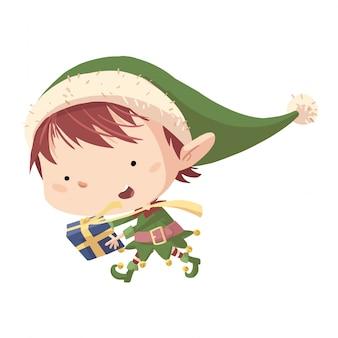 Elfo di natale con doni Vettore Premium