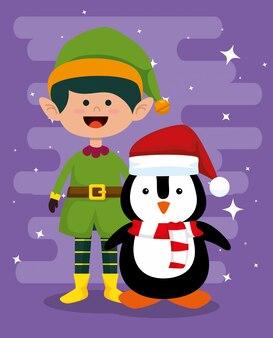 Elfo e pinguino per festeggiare il buon natale