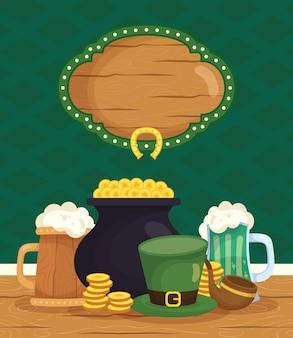 Calderone del tesoro degli elfi con monete e icone del giorno di san patrizio