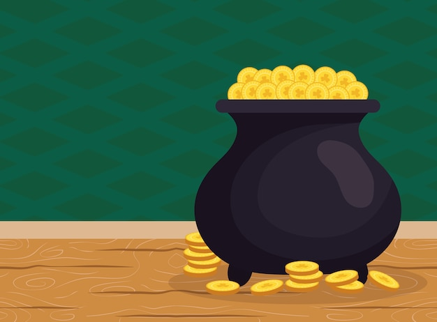 Calderone del tesoro degli elfi con monete