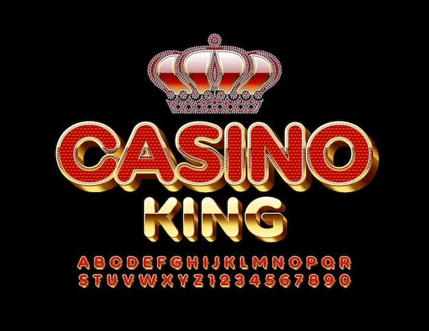 Elite emblem casino king con carattere 3d oro e rosso. lettere e numeri dell'alfabeto unici
