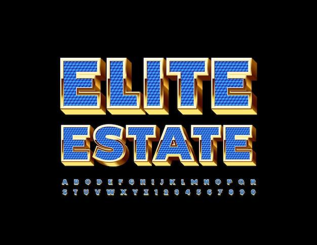 Set di lettere e numeri dell'alfabeto chic con carattere 3d blu e oro elite estate