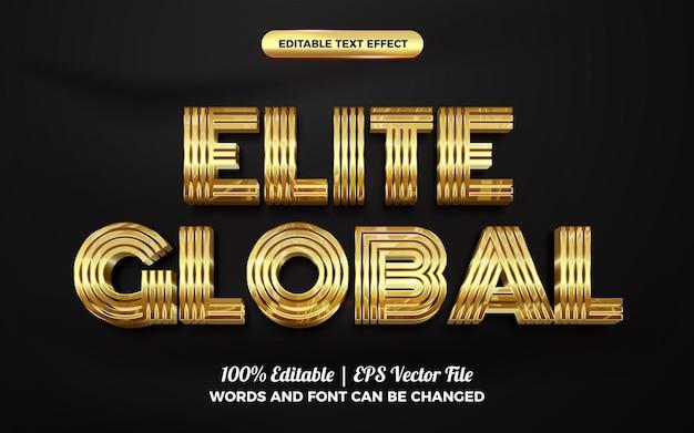 Modello di stile effetto testo modificabile 3d oro globale elite