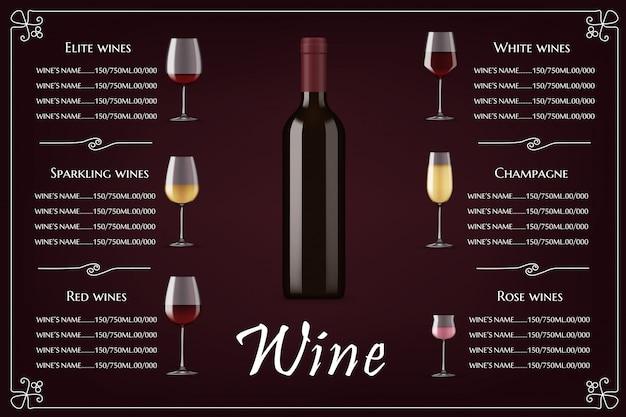 Lista dei vini d'élite, modello di menu del ristorante