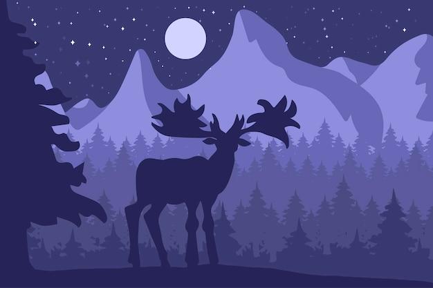 Alci nella foresta di conifere di notte vicino alle montagne sotto la luna. vettore