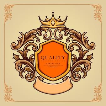 Elegante distintivo corona ornato illustrazioni classiche