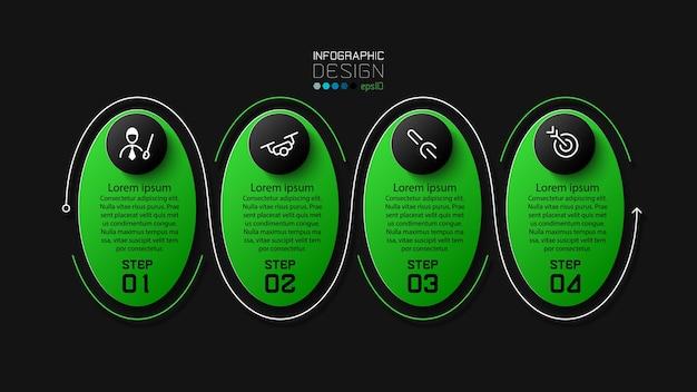 Linea di tratto ellittico design verde e nero 4 passaggi design moderno infografico
