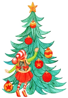 Elfi che preparano l'albero sempreverde del pino di natale per le vacanze invernali. gnomo che indossa un costume in piedi su una scala che decora l'abete con palline. regali e scatole regalo di seguito decorate per il simbolo