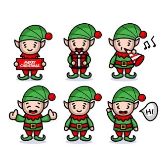 Elfi con costumi natalizi