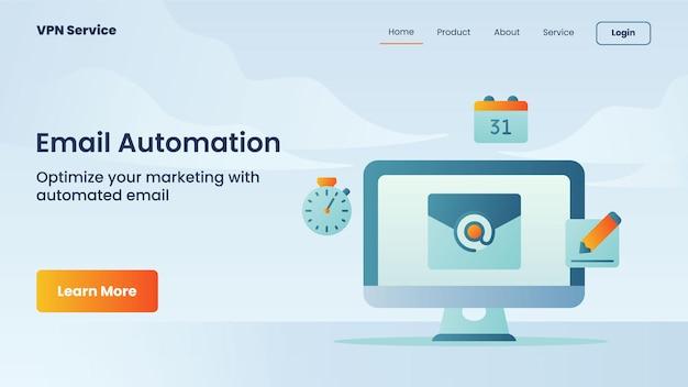 Campagna di automazione della posta elettronica per banner della pagina di destinazione del sito web