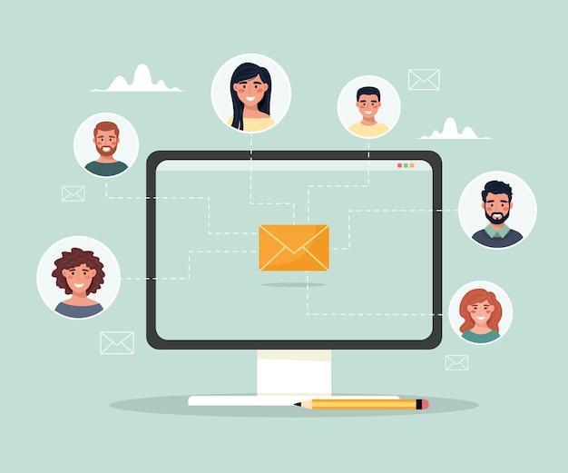 Comunicazione e-mail tra persone invio di messaggi