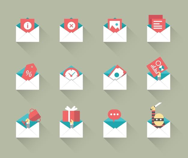 Icone del concetto di posta elettronica. disegno piatto con ombra. vettore