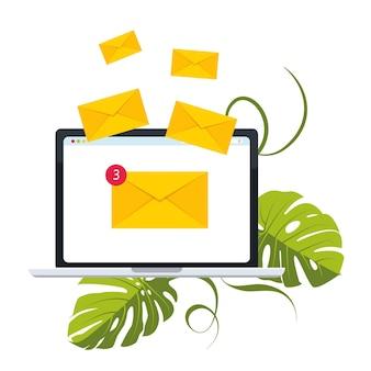 Concetto di posta elettronica rappresentato dall'icona della busta e del laptop. molte lettere in buste volano fuori dal laptop. illustrazione vettoriale