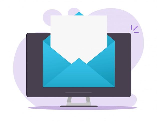 Inviare la busta della carta della lettera della posta elettronica del email aperta sulla pagina vuota in bianco del pc del computer desktop