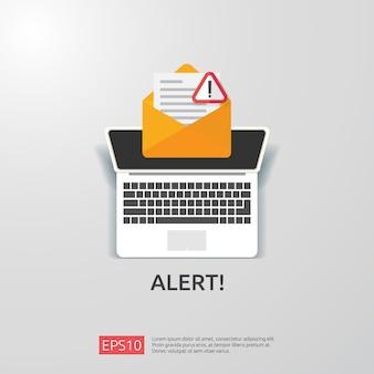 Email busta attenzione avviso attaccante segnale di avvertimento con punto esclamativo. concetto di pericolo di internet. icona linea scudo per vpn. illustrazione di protezione di sicurezza informatica tecnologia.