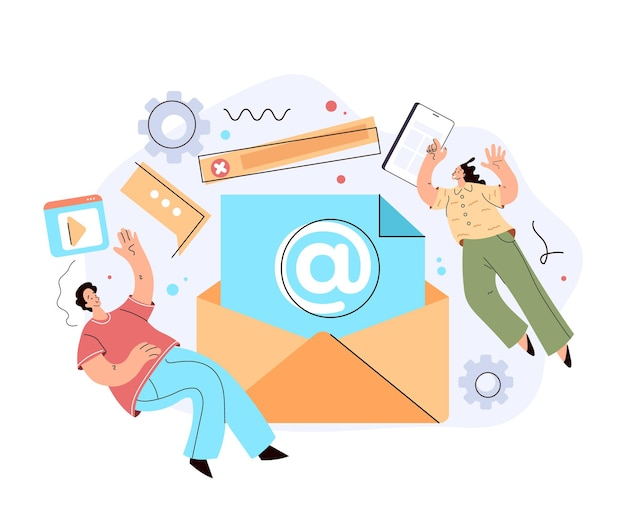 Busta e-mail marketing in chat supporto internet concetto di lettera di comunicazione online