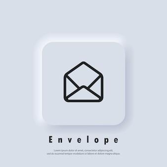Icona di posta elettronica. busta aperta. logo della newsletter. icone di posta elettronica e messaggistica. campagna di email marketing. vettore eps 10. icona dell'interfaccia utente. pulsante web dell'interfaccia utente di neumorphic ui ux bianco. neumorfismo