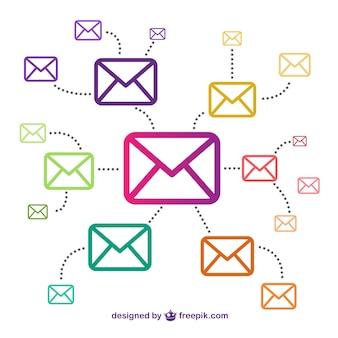 Email conncetion vettoriali gratis Vettore Premium
