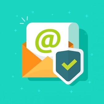 Posta elettronica protetta online con l'icona dello scudo