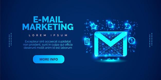 Uno sfondo di email marketing con uno sfondo blu.