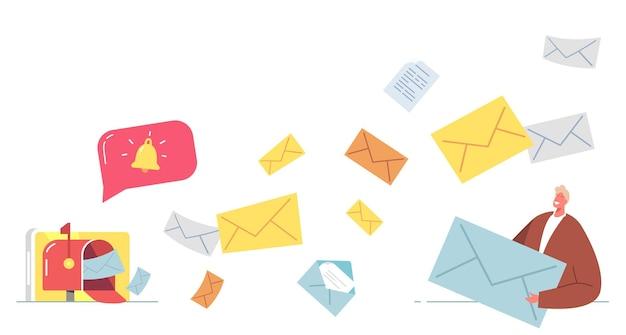 Concetto di e-mail marketing. personaggio d'affari in piedi alla cassetta postale con buste di messaggi e-mail che volano fuori