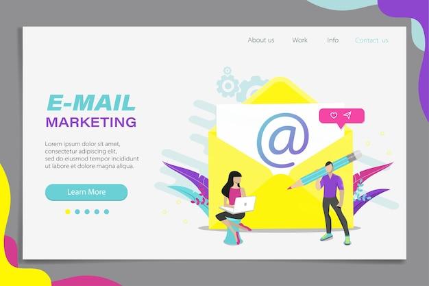 Concetto di e-mail marketing. campagna pubblicitaria via e-mail, e-mail marketing, raggiungimento del pubblico di destinazione con e-mail. pagina di destinazione, banner, app mobile. illustrazione vettoriale