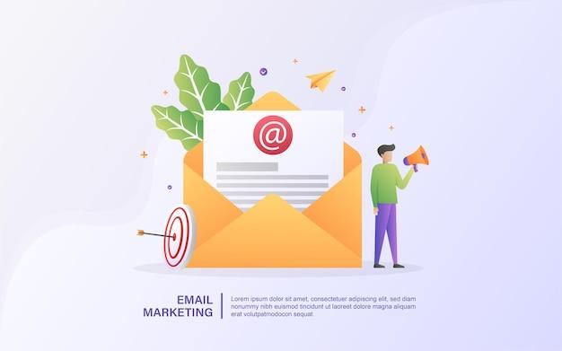 Concetto di email marketing con persone minuscole