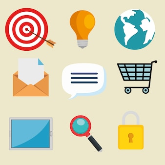 Email marketing icone di pubblicità su internet