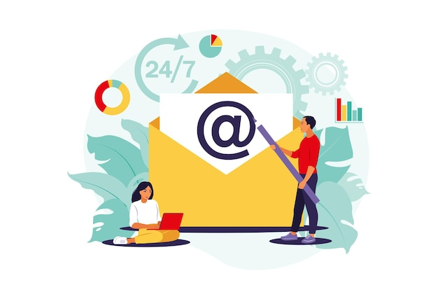 Email marketing, chat su internet, concetto di supporto 24 ore su 24. illustrazione. piatto.